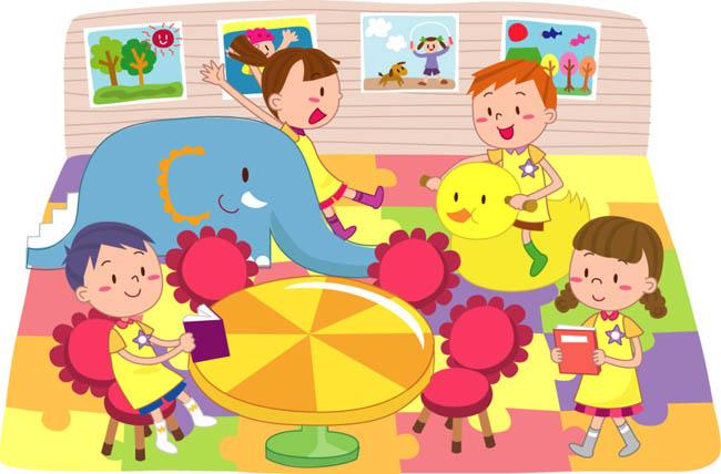 卡通动漫儿童在一起玩耍的漫画矢量素材