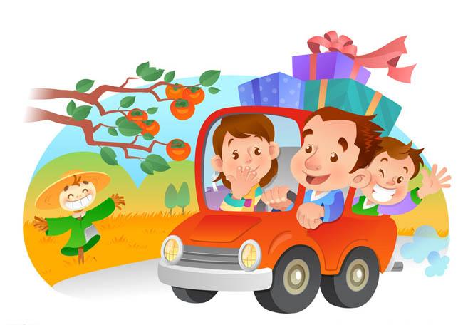 漫画素材开车出去旅游的卡通动漫一家人 秋天出去旅游的人物  秋收图片