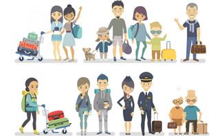 扁平坐飞机旅游的人物形
