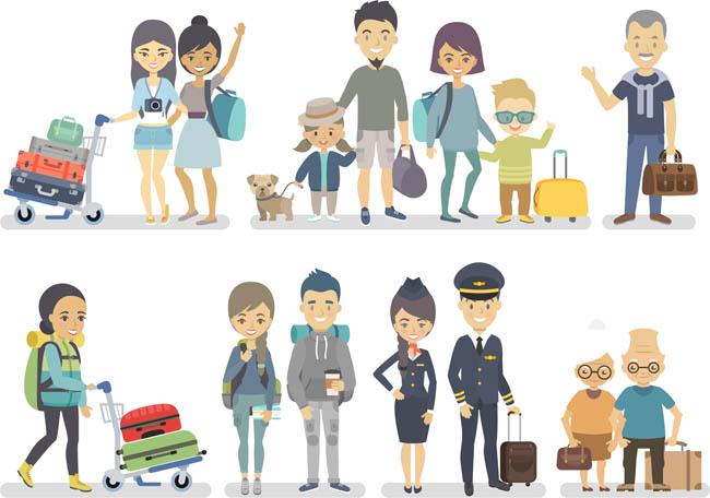 扁平坐飞机旅游的人物形象设计素材