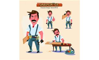 木材加工师傅动漫卡通人