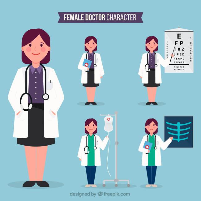 专业职业女性医生卡通形象设计图片