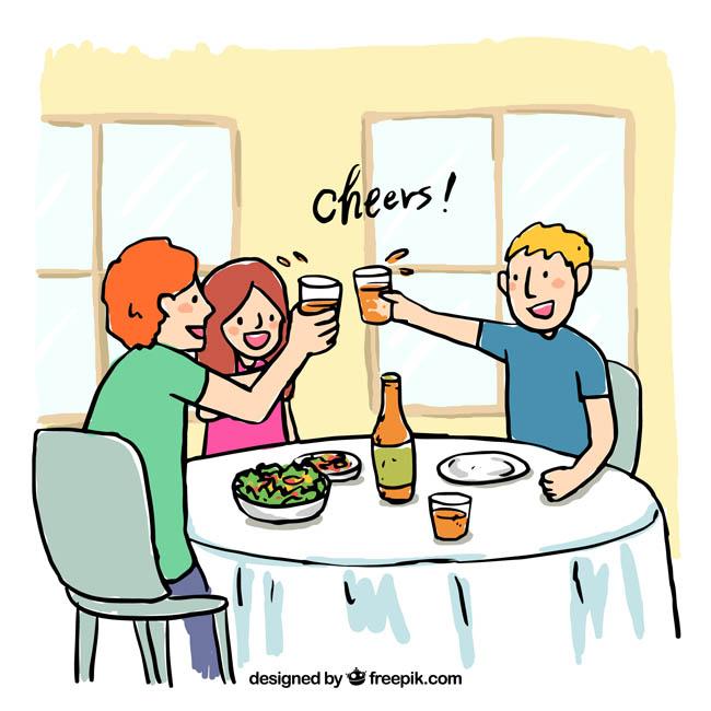 详细描述手绘漫画三个朋友在家喝酒吃饭庆祝的场景朋友在一家图片