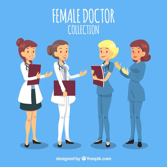 卡通动漫带微笑沟通的女医生形象设计素材_漫品购_mg