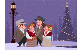 有圣诞气氛的背景卡通人