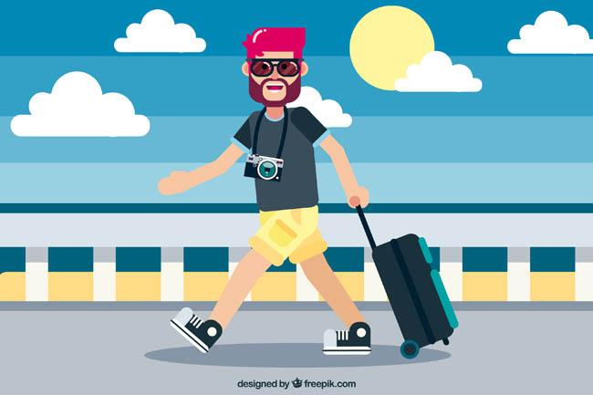 主页 矢量文件 矢量人物 > 拖着旅行箱出行旅游的卡通动漫男士扁平化