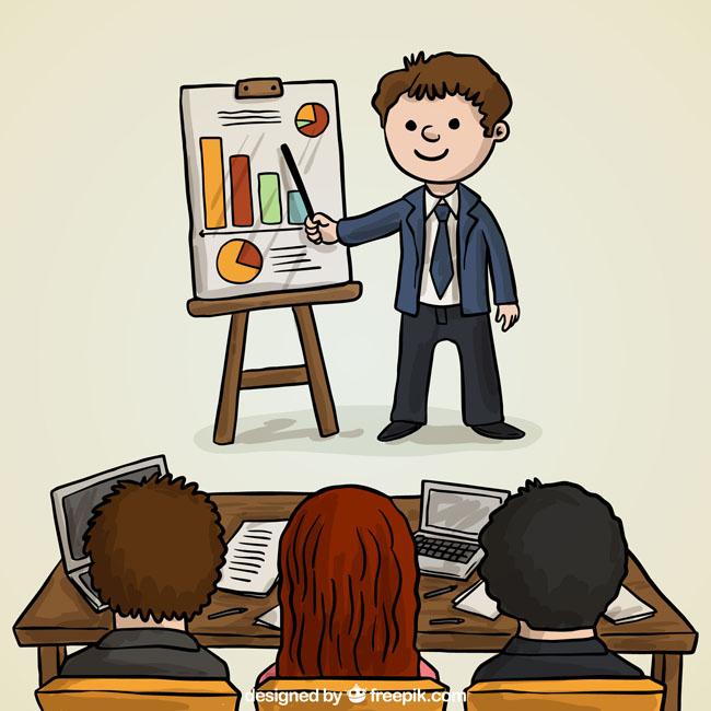 手绘漫画卡通风格的商务人物形象设计素材 商务会议中的手绘角色