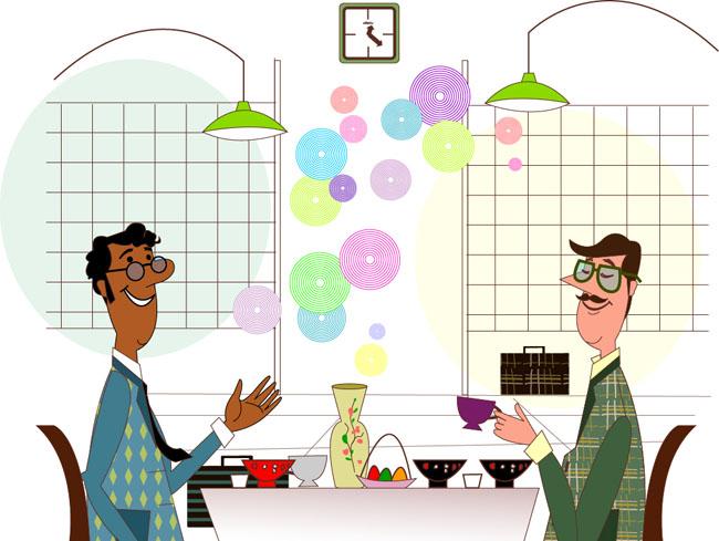 卡通漫画商务人物在餐厅里面聊天吃饭的场景图片