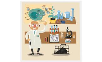 矢量卡通手绘科学家形象
