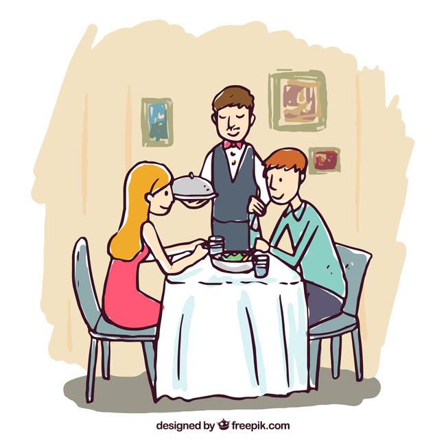 漫画手绘情侣在一起用餐场景设计素材