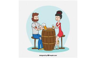 手绘漫画男女朋友在酒桶