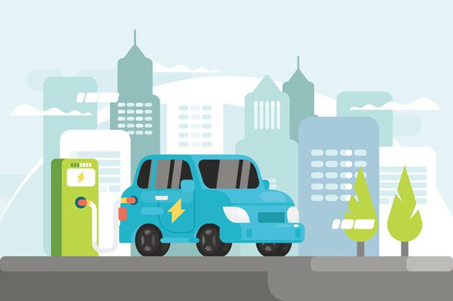 扁平化电力车辆充电站场景 扁平化城市场景设计 矢量卡通电力车辆