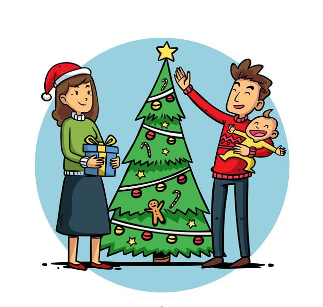 手绘卡通漫画温馨的爸爸妈妈儿子在一起过圣诞节 温馨圣诞节三口之