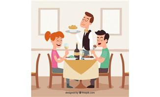 在餐厅开心享受美食的年