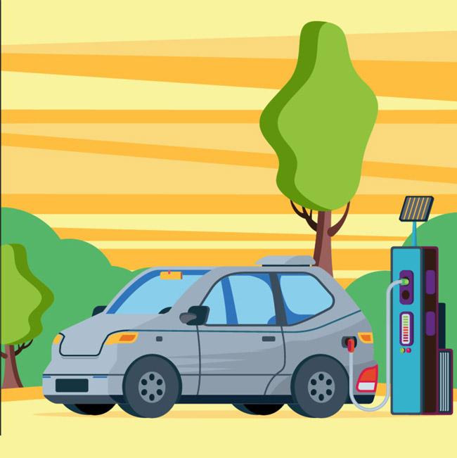 现代绿色出行车辆造型设计矢量素材_漫品购_mg动画_源