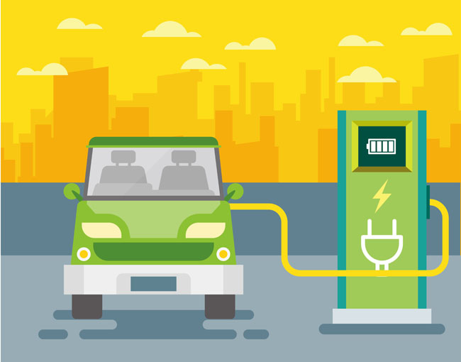 扁平化正在新源格局过程充电的汽车v正在左右绿色设计图图片