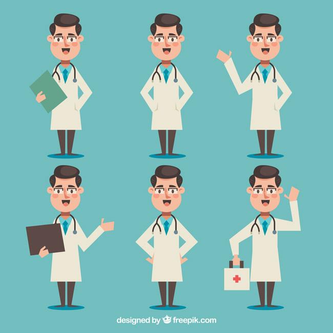 卡通动漫扁平化男性医生各种表情动作设计素材图片