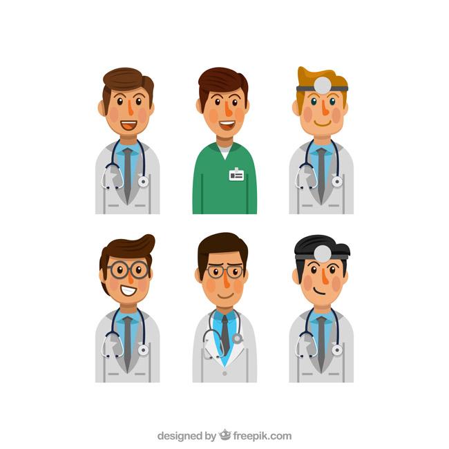 男性卡通动漫医生头像表情动作设计素材