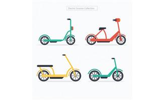 不同颜色造型的共享单车