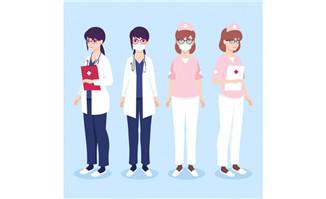 带口罩的卡通医护人员人设素材图片