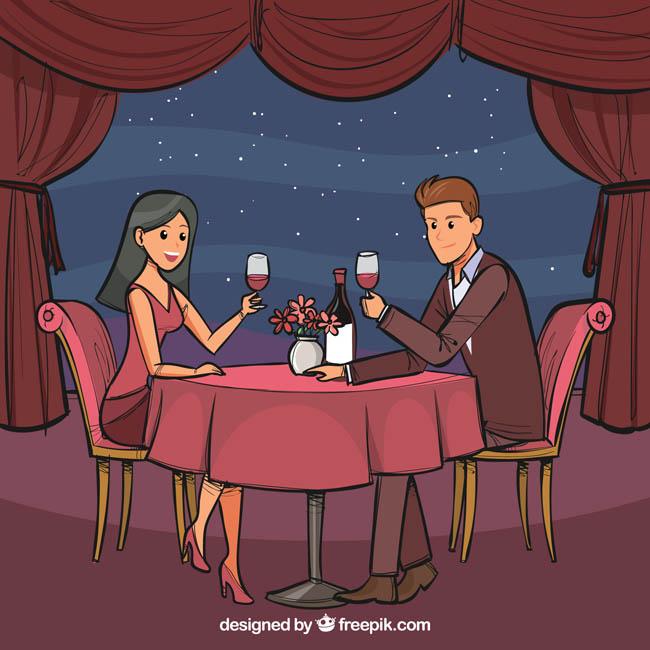 手绘漫画风格的卡通男女情侣在月光下用餐