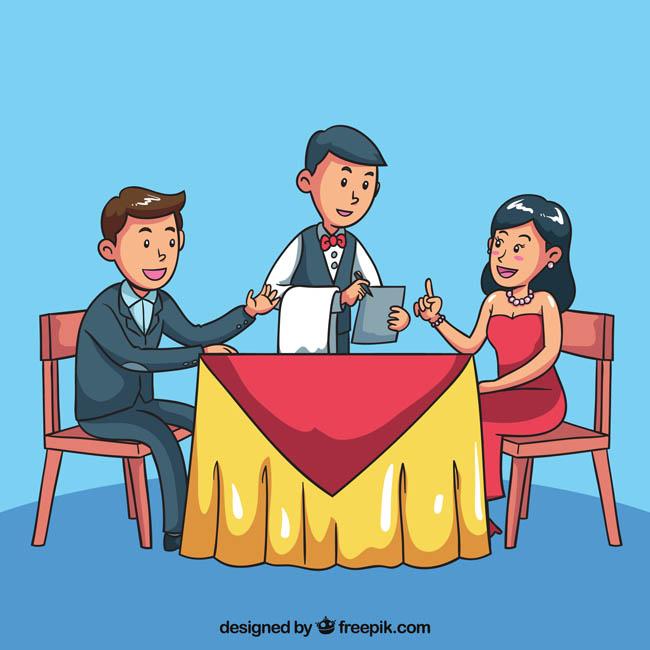 手绘漫画情侣正在叫服务员点餐的场景设计