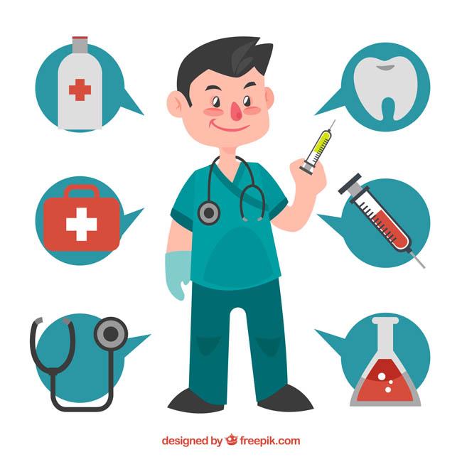 穿蓝色服装的医生拿着针管准备打针下药的动作图片