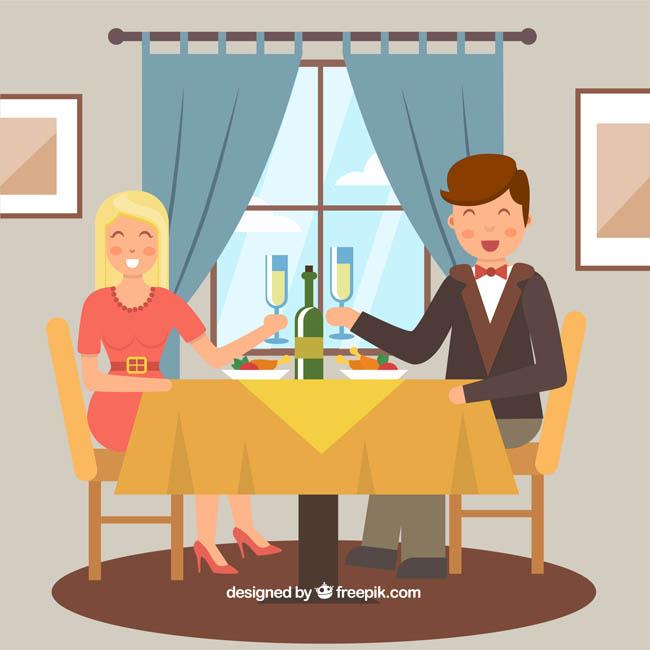 扁平化结婚纪念日庆祝的夫妻表情设计素材