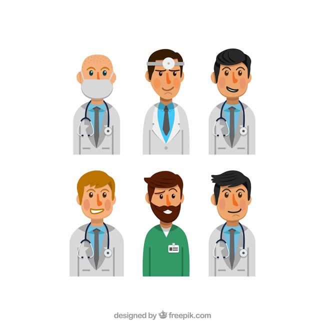 半身的职业医生头像表情设计矢量素材_漫品购_mg动画