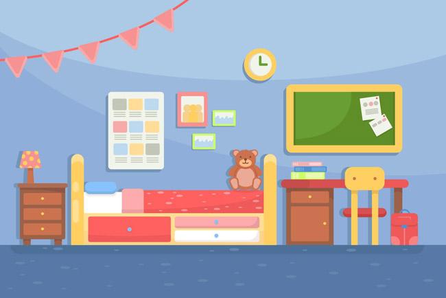 扁平化的侧面儿童房间效果场景图素材下载