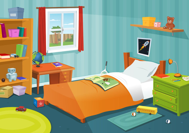 有很多儿童玩具的场景设计  床位  床头柜场景设计  卡通儿童场景