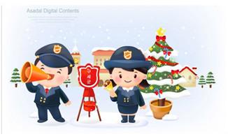 圣诞主题背景上的警察卡