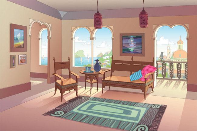 欧式风格的大客厅装修设计二维动画场景素材
