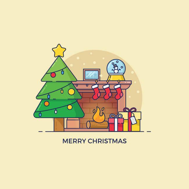扁平化圣诞主题礼物  圣诞树  卡通扁平化mbe风格图标设计素材
