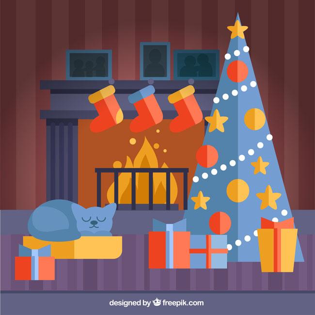 扁平化蓝色红色调搭配的圣诞主题背景设计_漫品购_mg