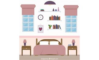 平面设计风格发卧室场景