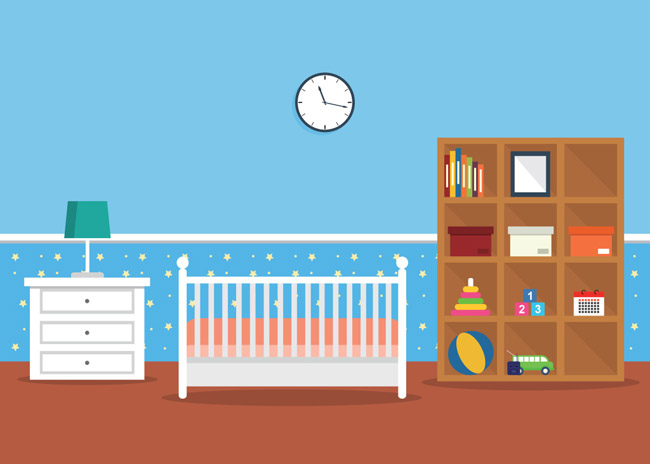 扁平化婴儿房间场景设计儿童房间装修_漫品购_mg动画