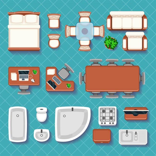 手绘二维室内家居床铺沙发设计矢量素材下载