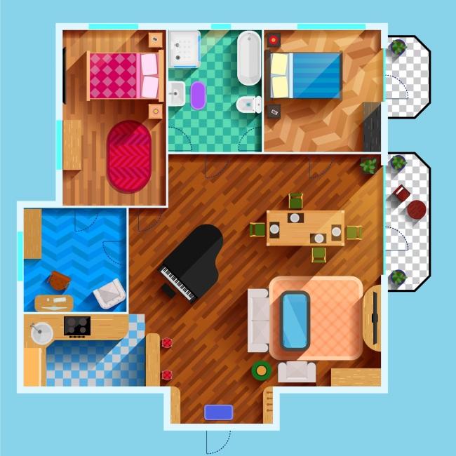 手绘三室一厅立体俯视现代室内装修效果图