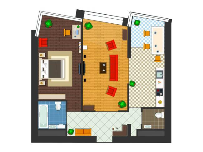 手绘现代室内装修立体俯视效果图设计素材