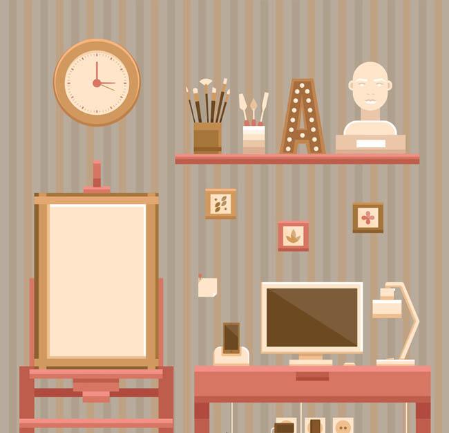 艺术家创作时候家里画板电脑石膏像元素设计