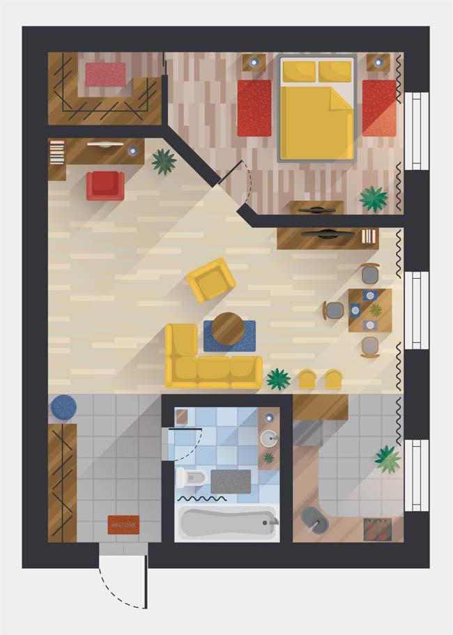 手绘俯视平面现代室内装修效果图设计素材