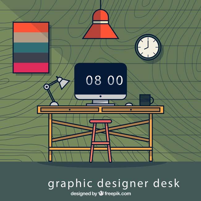 简易创意办公室场景设计矢量素材_漫品购_mg动画短片