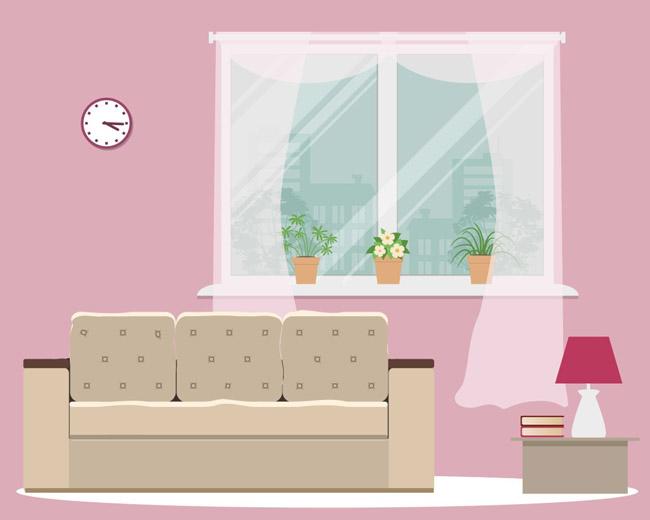 详细描述   温馨小清新的室内沙发窗户场景设计素材下载 小清新客厅