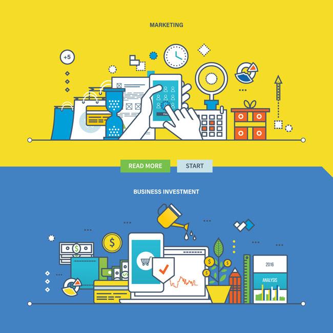 扁平化电子商务公司科技元素设计背景图片素材