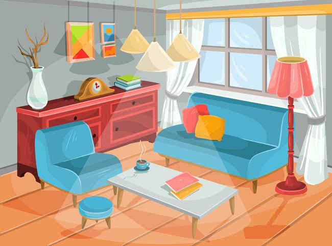 客厅手绘漫画场景设计矢量沙发书架