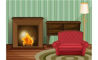 客厅的沙发壁炉场景设计