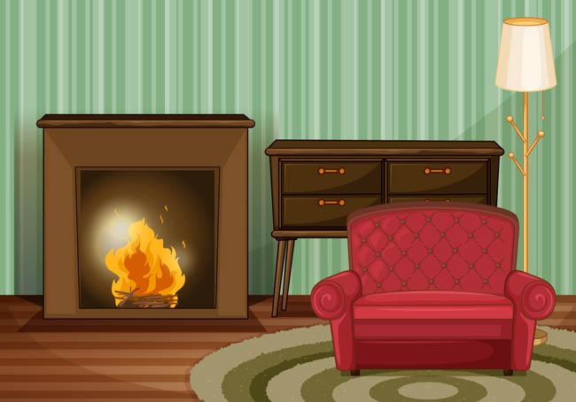 客厅的沙发壁炉场景设计矢量素材_漫品购_mg动画短片