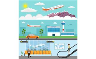 飞机机场扁平化背景设计