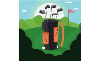高尔夫球一筐球杆特写镜